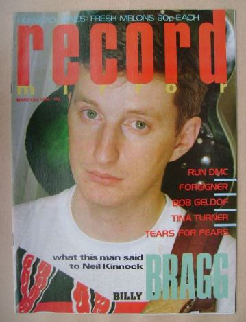 <!--1985-03-30-->Record Mirror magazine - Billy Bragg cover (30 March 1985)