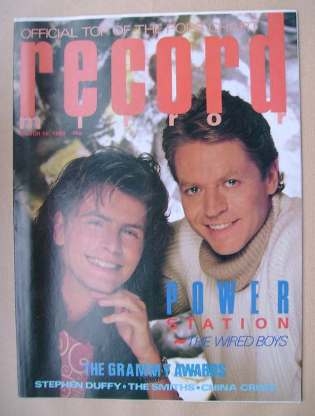 <!--1985-03-16-->Record Mirror magazine - John Taylor and Robert Palmer cov