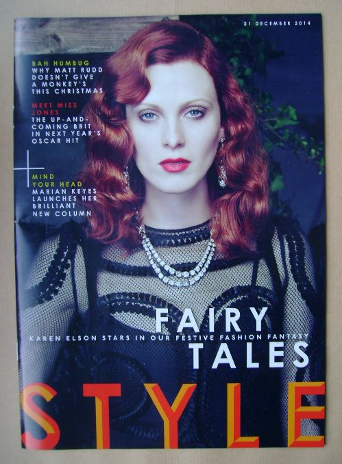 <!--2014-12-21-->Style magazine - Karen Elson cover (21 December 2014)