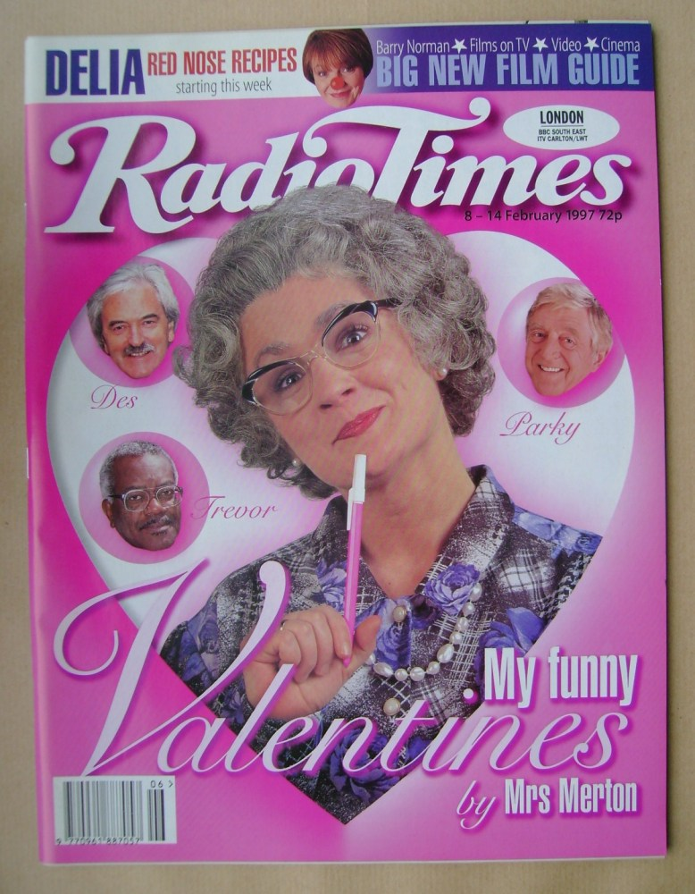 <!--1997-02-08-->Radio Times magazine - Mrs Merton cover (8-14 February 199