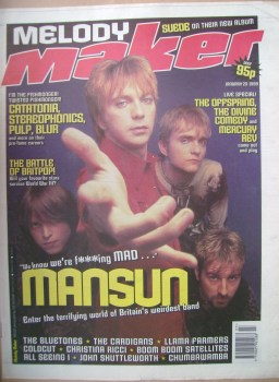 Melody Maker magazine - Mansun cover (23 January 1999)