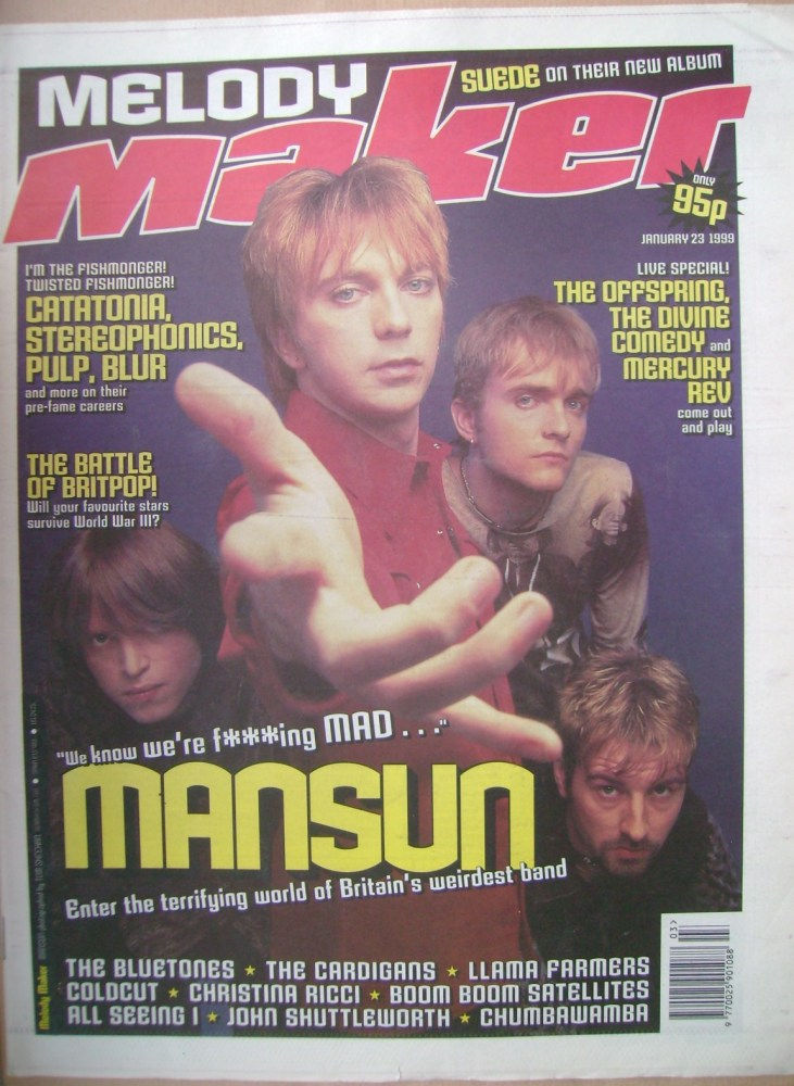 <!--1999-01-23-->Melody Maker magazine - Mansun cover (23 January 1999)