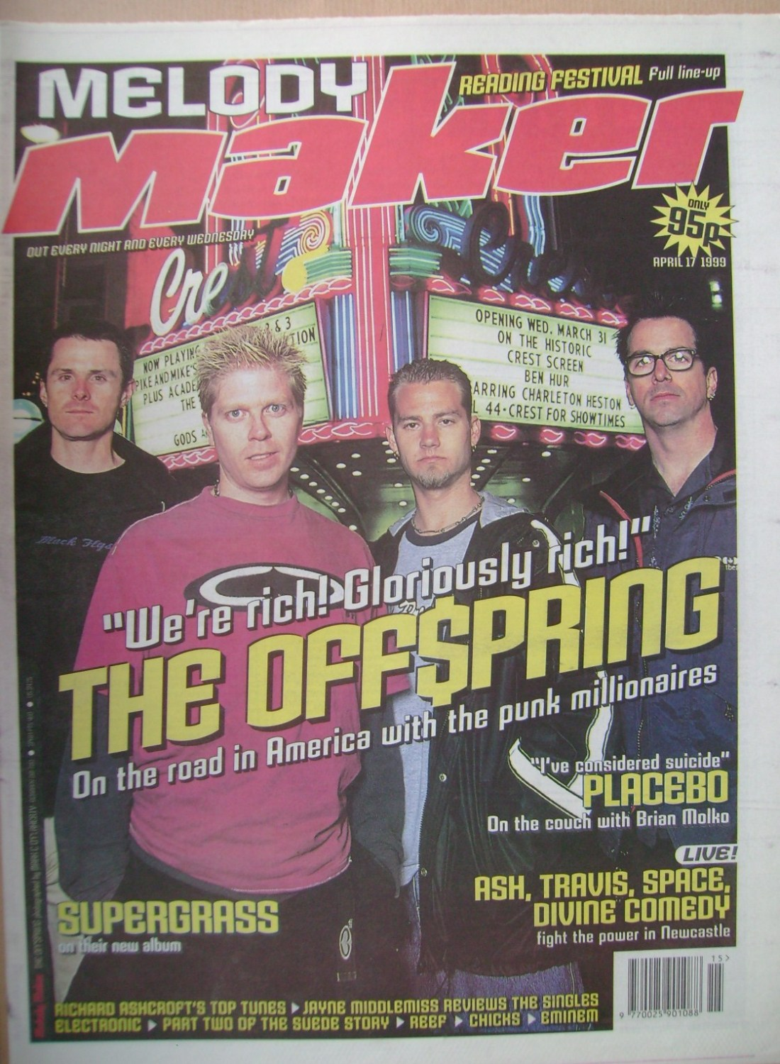 <!--1999-04-17-->Melody Maker magazine - The Offspring cover (17 April 1999