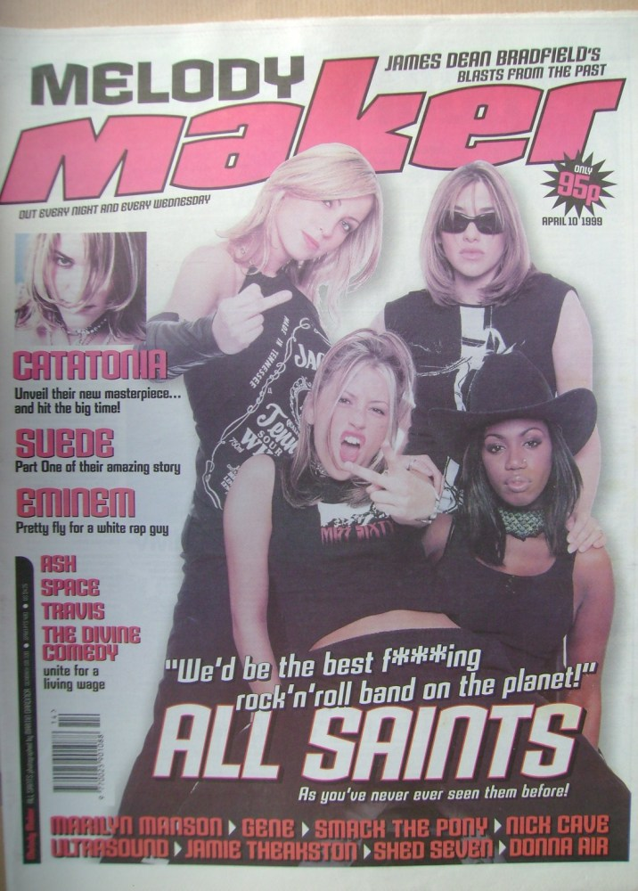 <!--1999-04-10-->Melody Maker magazine - All Saints cover (10 April 1999)