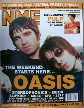 NME magazine - Noel Gallagher and Liam Gallagher cover (26 August 2000)