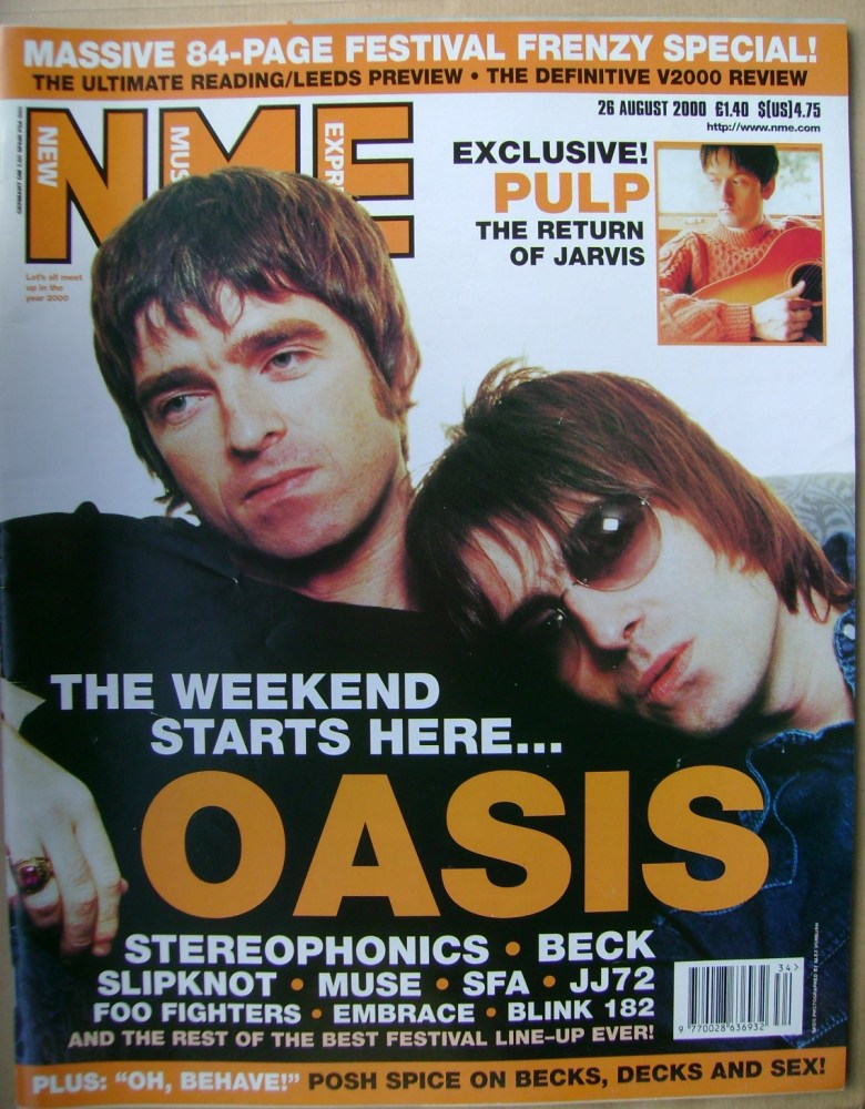 <!--2000-08-26-->NME magazine - Noel Gallagher and Liam Gallagher cover (26