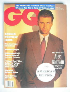 US GQ magazine - February 1990 - Alec Baldwin cover