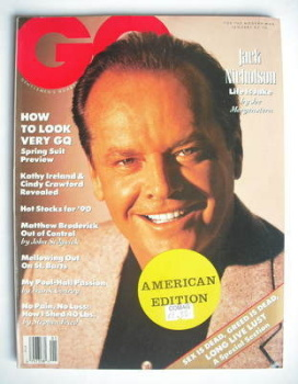 US GQ magazine - January 1990 - Jack Nicholson cover