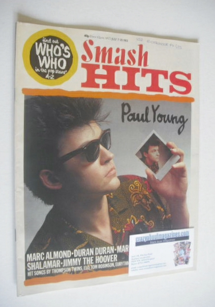 <!--1983-07-07-->Smash Hits magazine - Paul Young cover (7-20 July 1983)