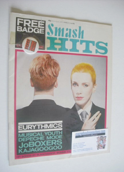 <!--1983-03-03-->Smash Hits magazine - Eurythmics cover (3-16 March 1983)