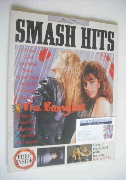 <!--1986-04-09-->Smash Hits magazine - The Bangles cover (9-22 April 1986)
