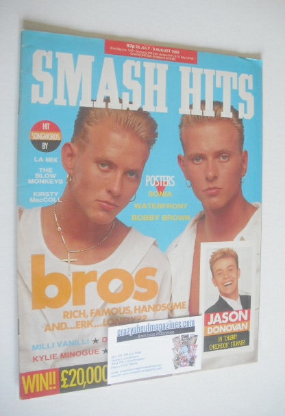 <!--1989-07-26-->Smash Hits magazine - Bros cover (26 July-8 August 1989)
