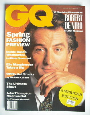 <!--1991-01-->US GQ magazine - January 1991 - Robert De Niro cover