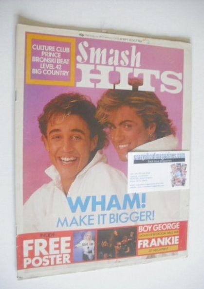 <!--1984-09-27-->Smash Hits magazine - Wham! cover (27 September - 10 Octob