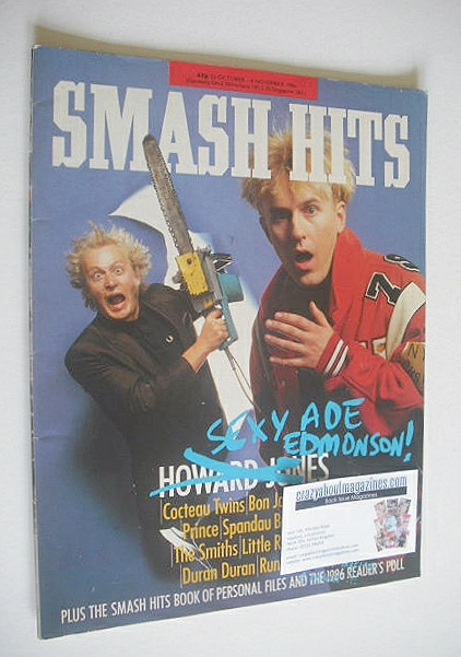 <!--1986-10-22-->Smash Hits magazine - Ade Edmondson and Howard Jones cover