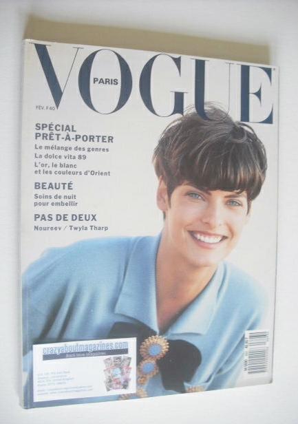 <!--1989-02-->French Paris Vogue magazine - February 1989 - Linda Evangelis