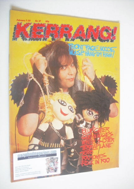 <!--1985-02-07-->Kerrang magazine - Blackie Lawless cover (7-20 February 19