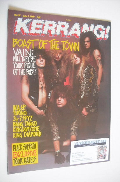 <!--1989-06-03-->Kerrang magazine - Vain cover (3 June 1989 - Issue 241)