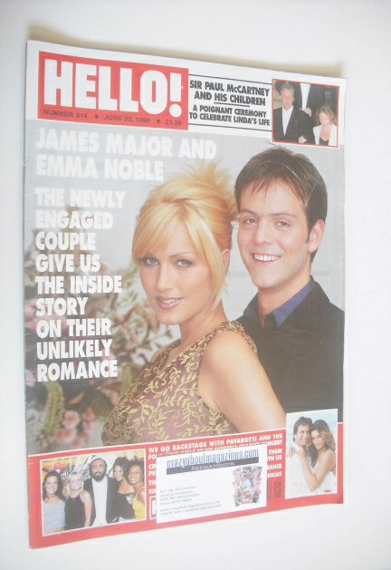 <!--1998-06-20-->Hello! magazine - James Major and Emma Noble cover (20 Jun