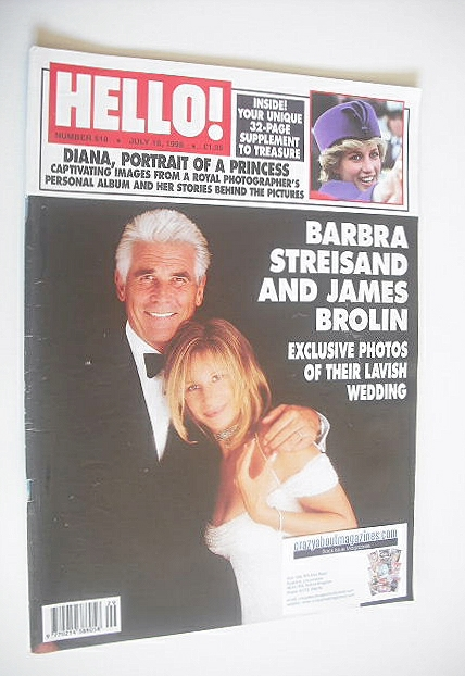 <!--1998-07-18-->Hello! magazine - Barbra Streisand and James Brolin cover