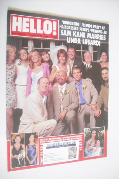 <!--1998-08-22-->Hello! magazine - Sam Kane and Linda Lusardi wedding cover
