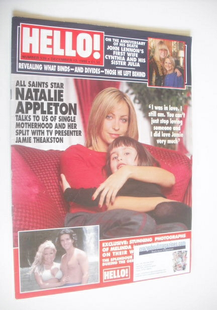 <!--1998-12-12-->Hello! magazine - Natalie Appleton cover (12 December 1998