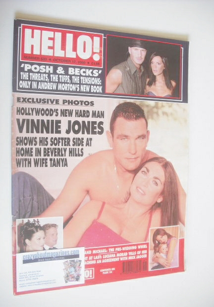 <!--2000-10-17-->Hello! magazine - Vinnie Jones and wife Tanya cover (17 Oc