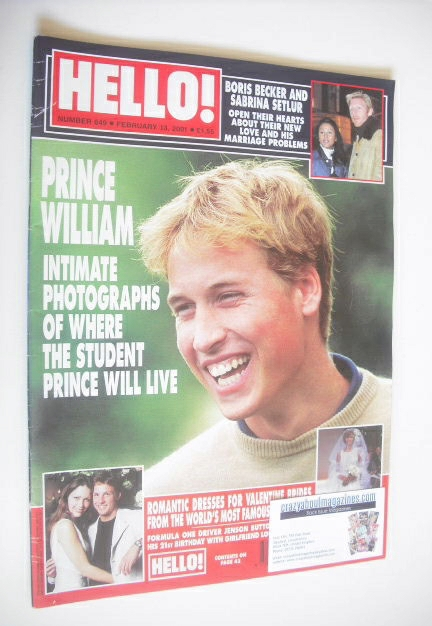 <!--2001-02-13-->Hello! magazine - Prince William cover (13 February 2001 -