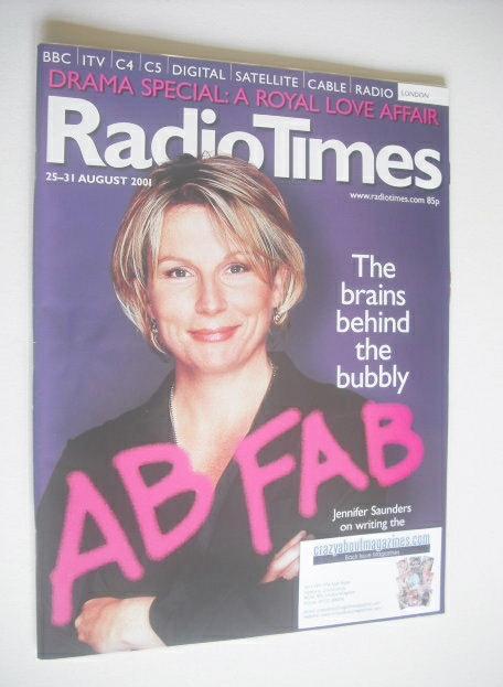 <!--2001-08-25-->Radio Times magazine - Jennifer Saunders cover (25-31 Augu