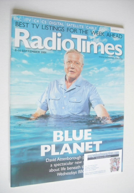 <!--2001-09-08-->Radio Times magazine - David Attenborough cover (8-14 Sept