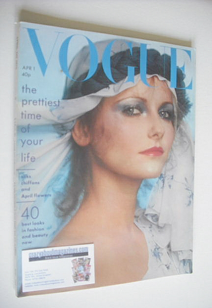 <!--1975-04-01-->British Vogue magazine - 1 April 1975 - Cheryl Tiegs cover