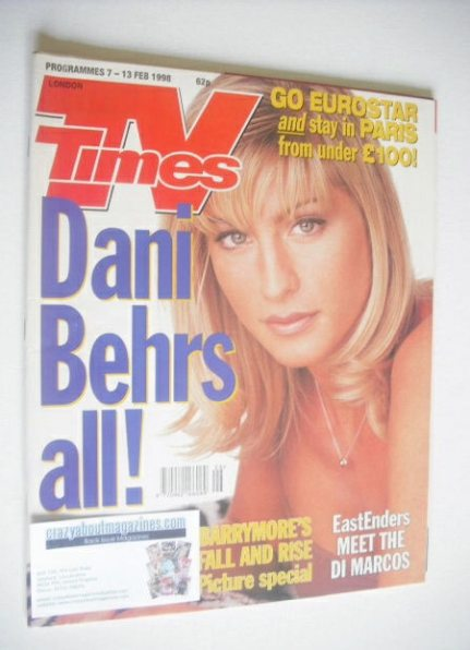 <!--1998-02-07-->TV Times magazine - Dani Behr cover (7-13 February 1998)