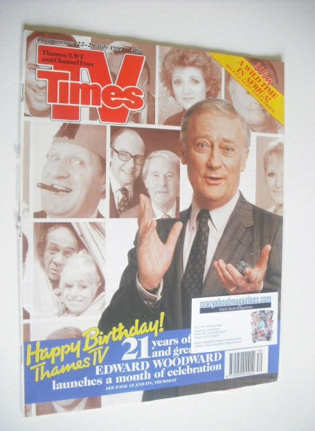 <!--1989-07-22-->TV Times magazine - Edward Woodward cover (22-28 July 1989