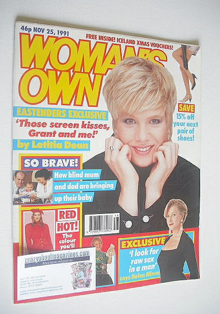 <!--1991-11-25-->Woman's Own magazine - 25 November 1991 - Letitia Dean cov