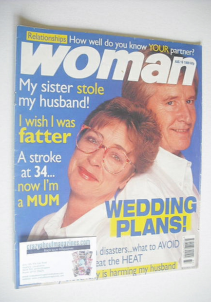 <!--1999-08-16-->Woman magazine - William Roache and Anne Kirkbride cover (