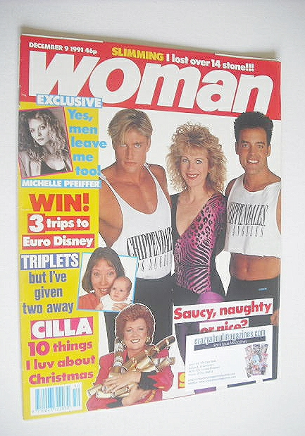 <!--1991-12-09-->Woman magazine - Lizzie Webb and The Chippendales cover (9