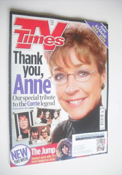 <!--2015-01-31-->TV Times magazine - Anne Kirkbride cover (31 January - 6 F