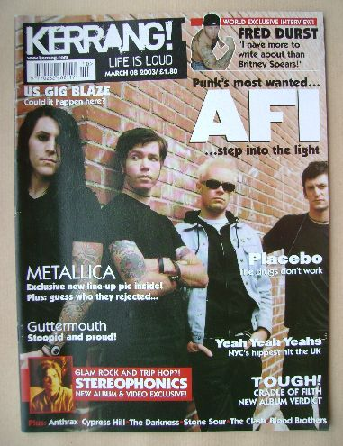 <!--2003-03-08-->Kerrang magazine - AFI cover (8 March 2003 - Issue 945)