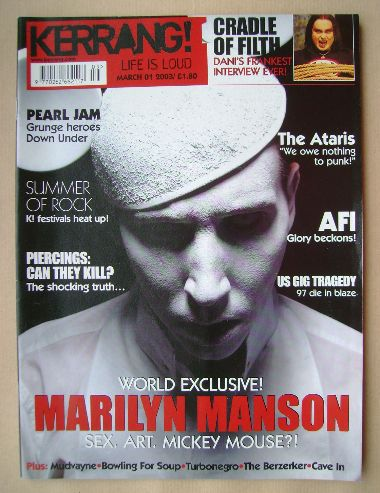 <!--2003-03-01-->Kerrang magazine - Marilyn Manson cover (1 March 2003 - Is