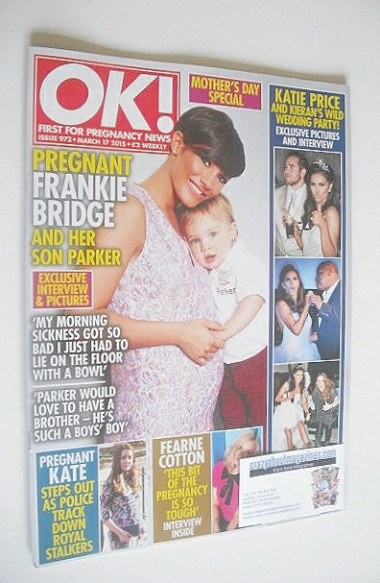 <!--2015-03-17-->OK! magazine - Frankie Bridge and son Parker cover (17 Mar