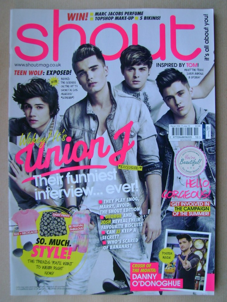 <!--2013-06-19-->Shout magazine - Union J cover (19 June - 16 July 2013)