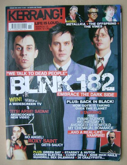 <!--2004-03-13-->Kerrang magazine - Blink 182 cover (13 March 2004 - Issue