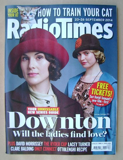 <!--2014-09-20-->Radio Times magazine - Michelle Dockery and Lily James cov