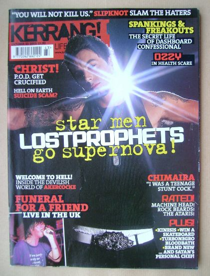 <!--2003-10-25-->Kerrang magazine - Ian Watkins cover (25 October 2003 - Is