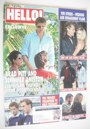 <!--2005-01-18-->Hello! magazine - Brad Pitt and Jennifer Aniston cover (18