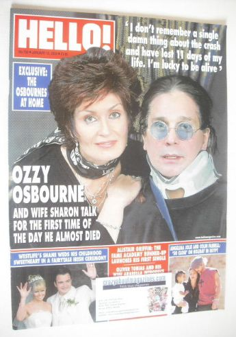 <!--2004-01-13-->Hello! magazine - Sharon and Ozzy Osbourne cover (13 Janua