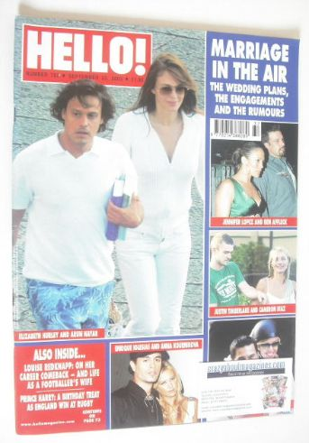 <!--2003-09-23-->Hello! magazine - Marriage In The Air cover (23 September