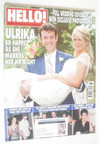 <!--2003-08-26-->Hello! magazine - Ulrika Jonsson wedding cover (26 August