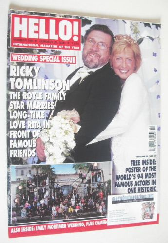 <!--2003-01-21-->Hello! magazine - Ricky Tomlinson wedding cover (21 Januar