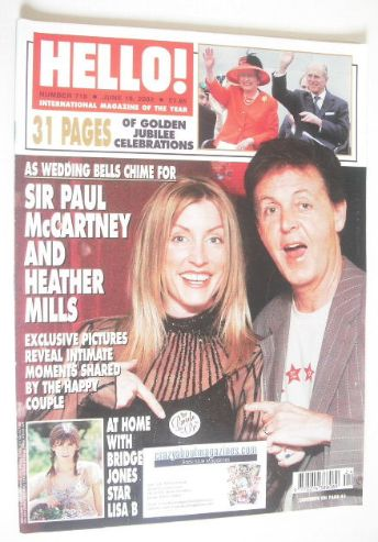 <!--2002-06-18-->Hello! magazine - Sir Paul McCartney and Heather Mills cov